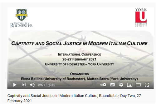 "VIDEO:  ""Captivity and Social Justice in Modern Italian Culture"""